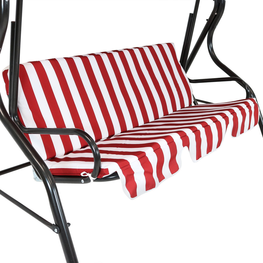 Closeup of Striped Seat Cushion, Red