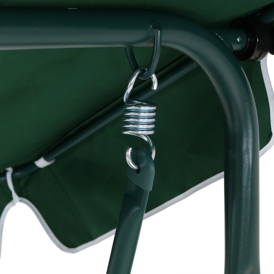 Closeup of Canopy Patio Swing Frame, Green