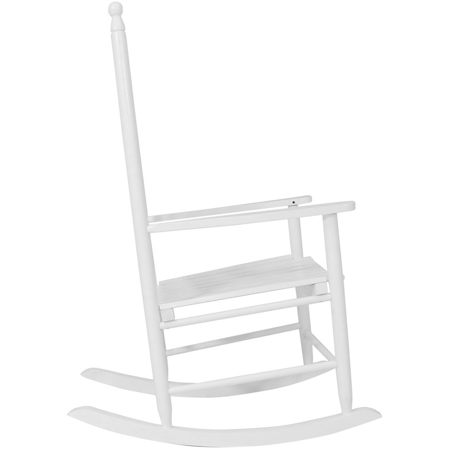 Side View of Wooden Rocking Chair, White