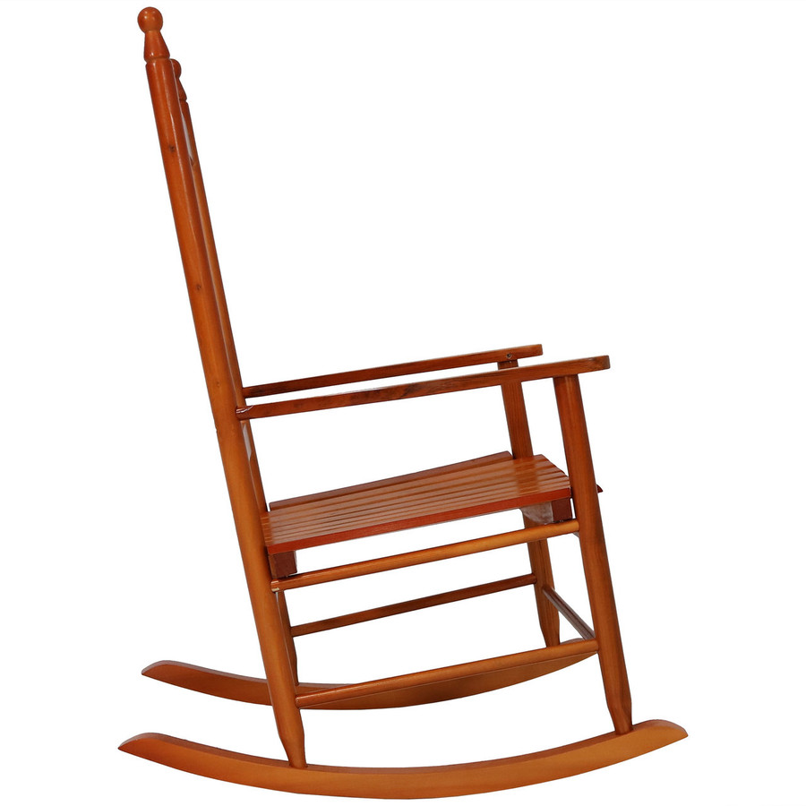 Side View of Wooden Rocking Chair, Brown