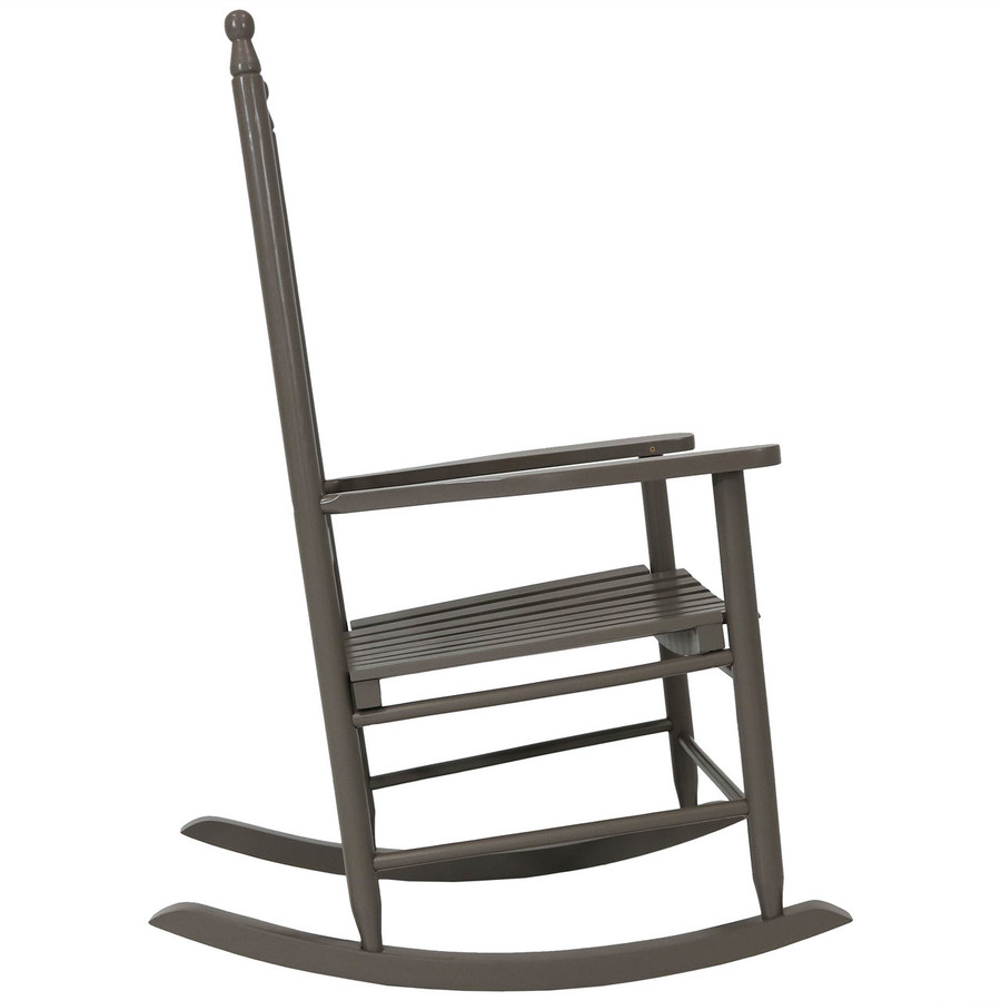 Side View of Wooden Rocking Chair, Gray