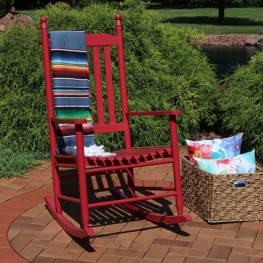 Wooden Rocking Chair, Red