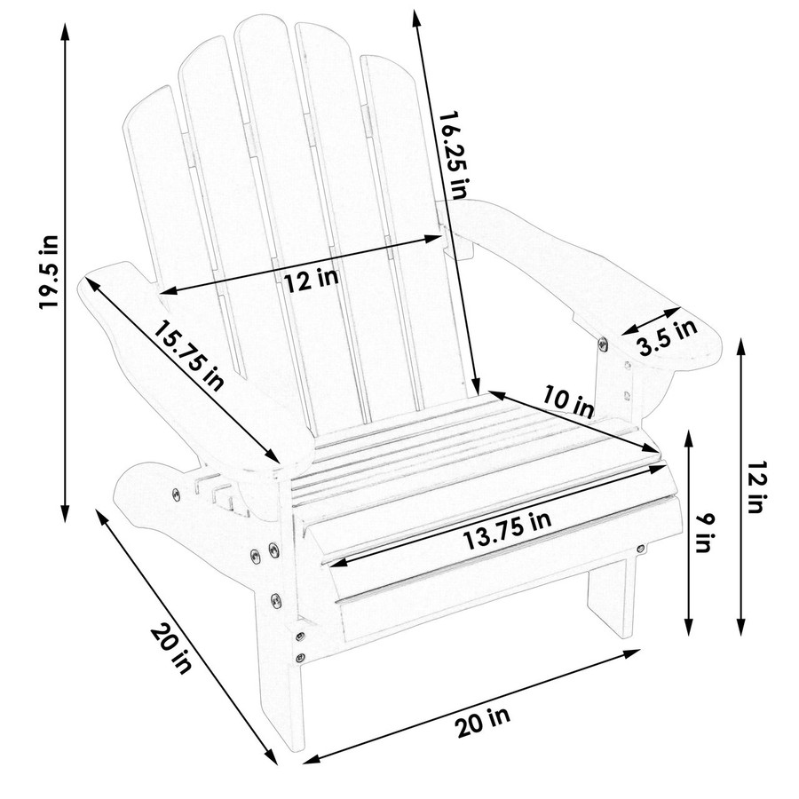 Dimensions of Child-Size Classic Wooden Adirondack Chair