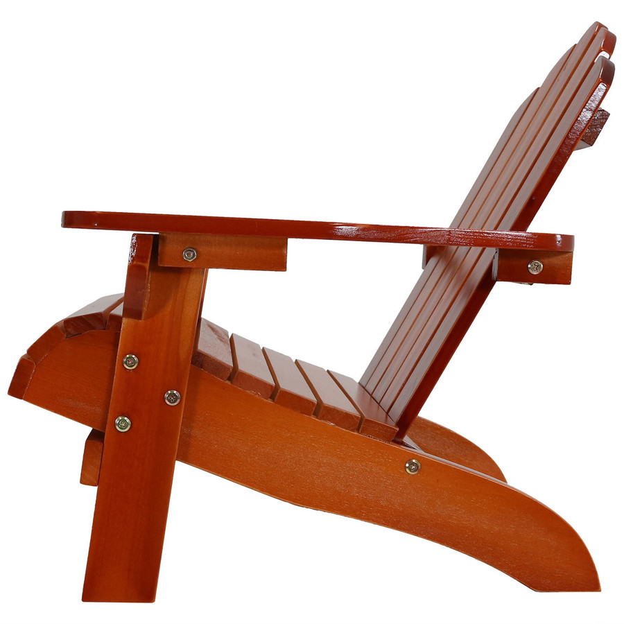 Side View of Child-Size Classic Wooden Adirondack Chair, Brown