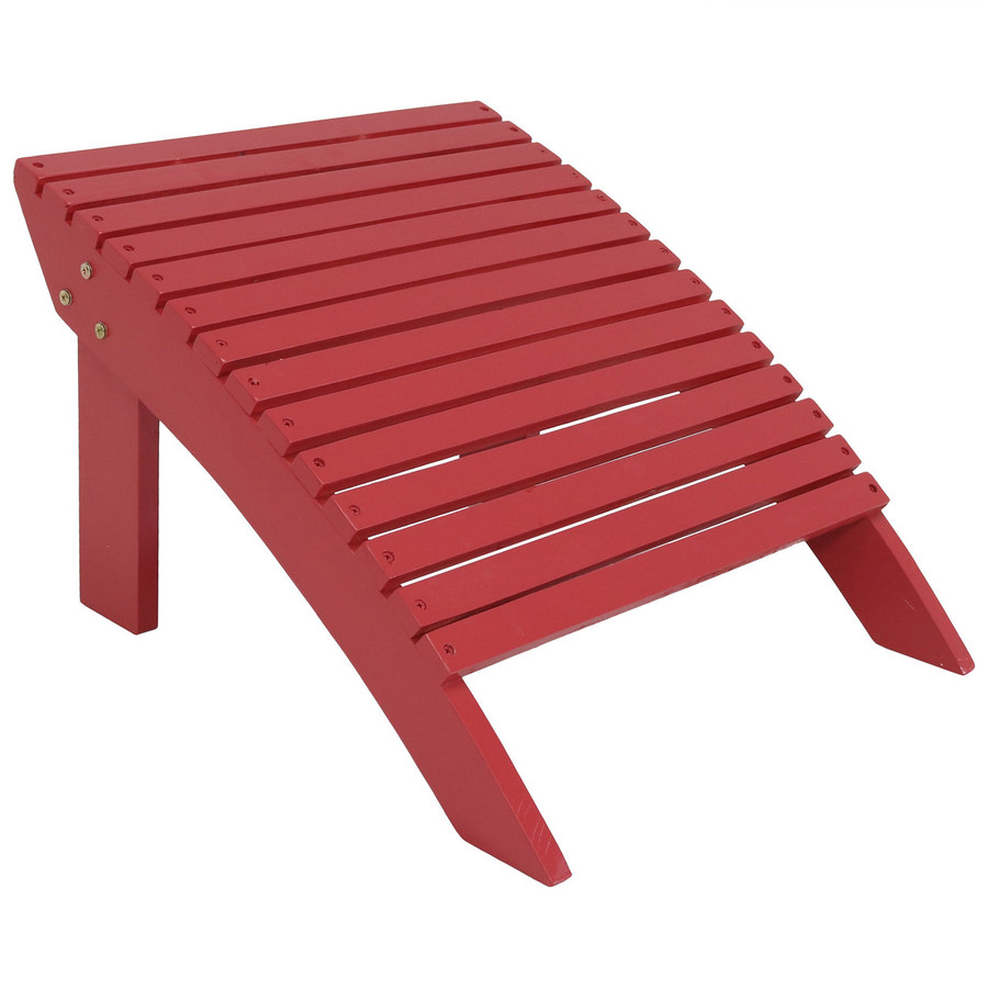 Wooden Outdoor Adirondack Ottoman Footrest, Red