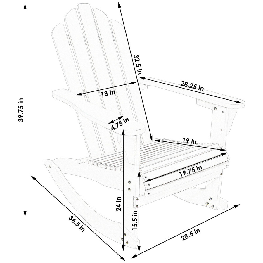 Dimensions of Outdoor Wooden Adirondack Rocking Chair
