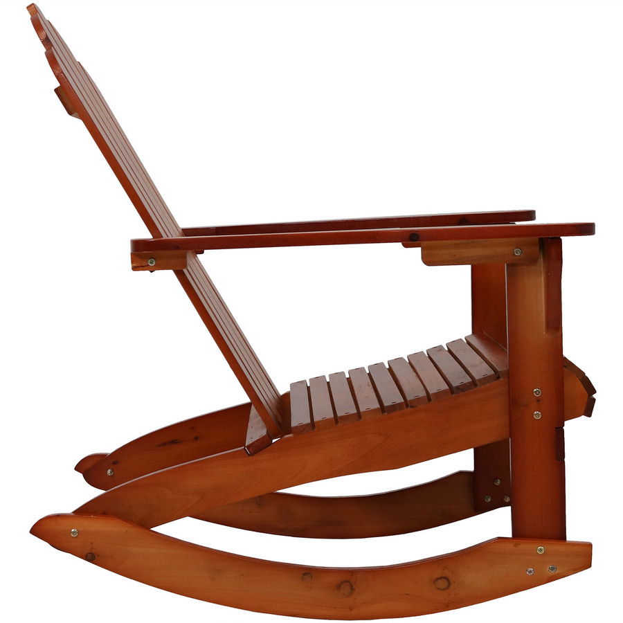 Side View of Outdoor Wooden Adirondack Rocking Chair, Brown