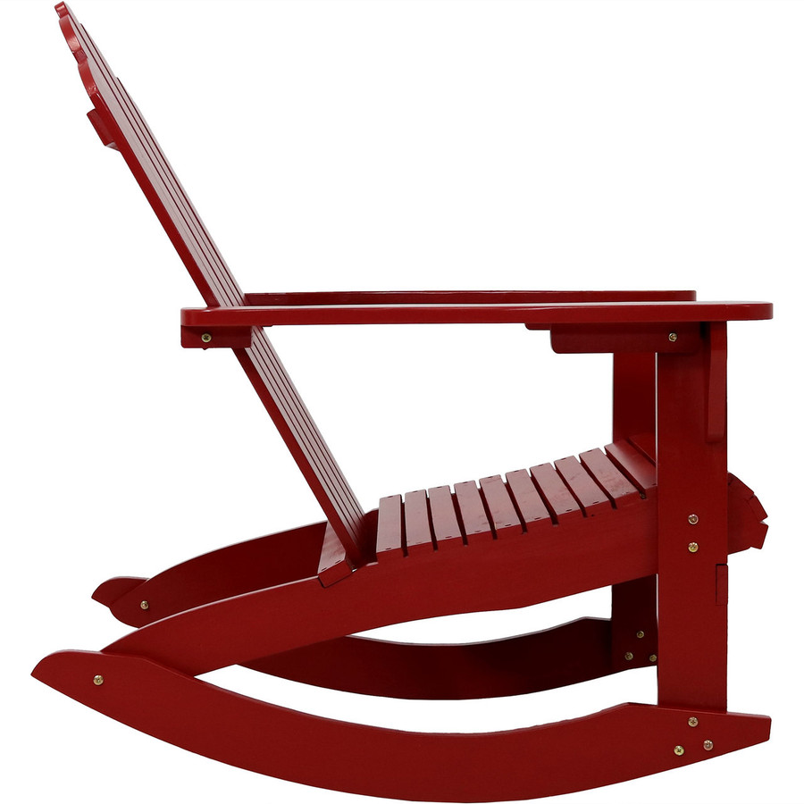 Side View of Outdoor Wooden Adirondack Rocking Chair, Red