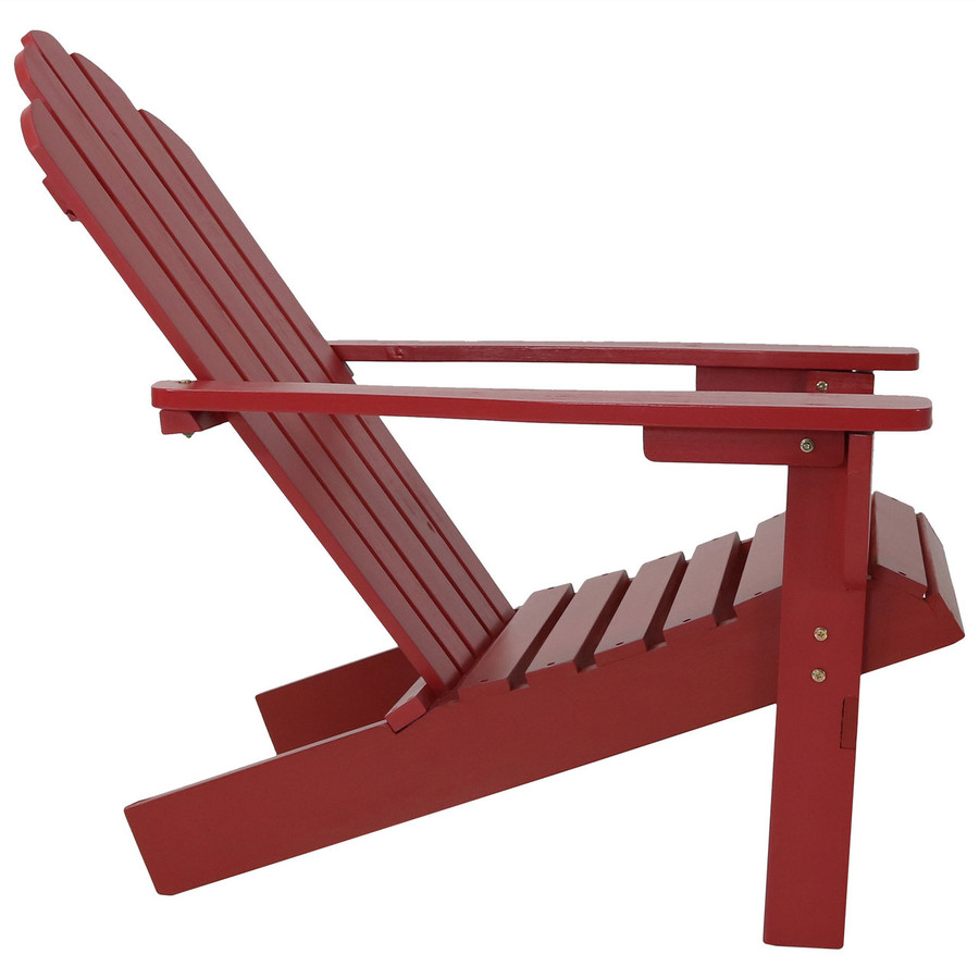 Side View of Wood Outdoor Adirondack Chair, Red