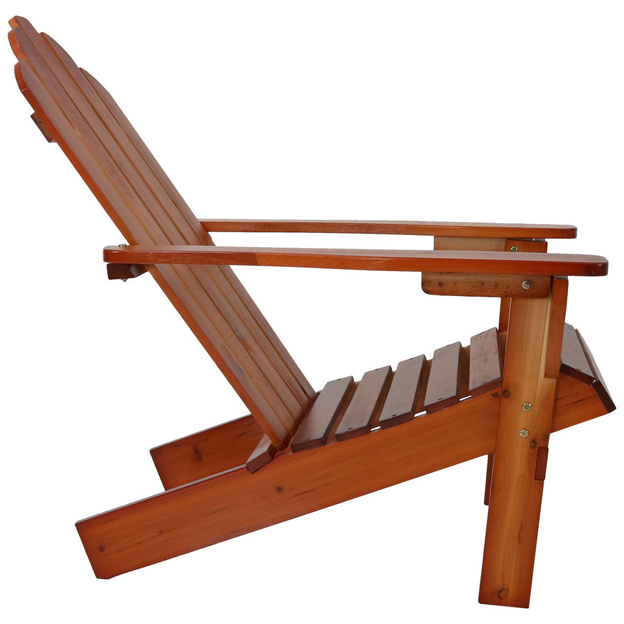 Side View of Wood Outdoor Adirondack Chair, Brown