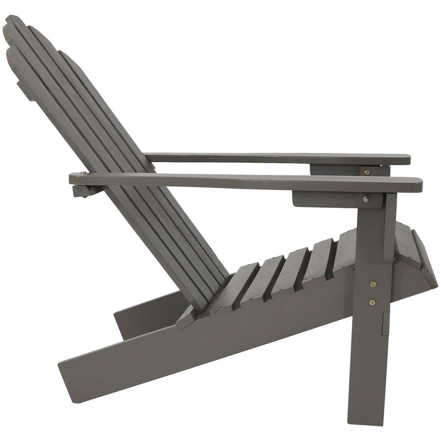 Side View of Wood Outdoor Adirondack Chair, Gray