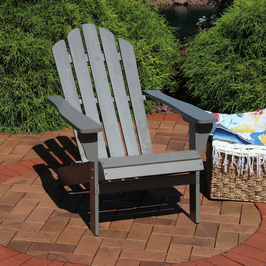 Wood Outdoor Adirondack Chair, Gray