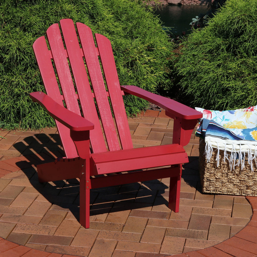 Wood Outdoor Adirondack Chair, Red