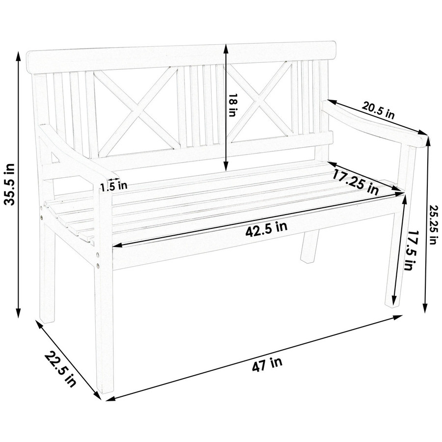 Dimensions of 2-Person X-Back Outdoor Wood Patio Bench