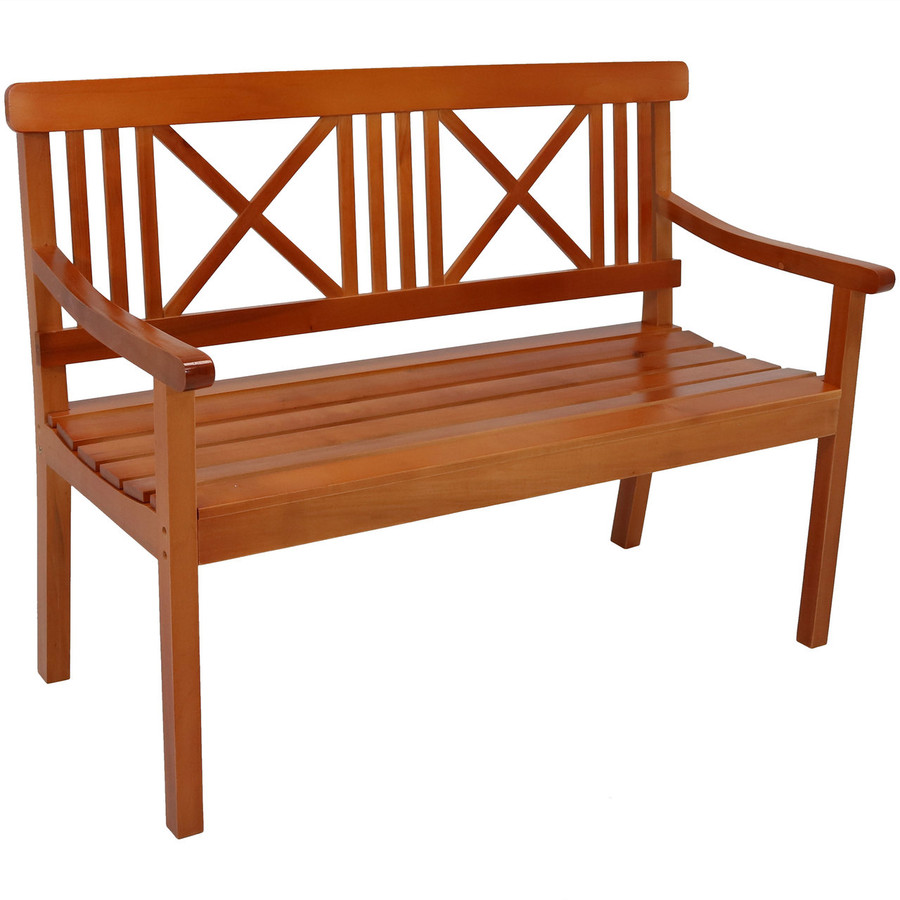 2-Person X-Back Outdoor Wood Patio Bench, Brown