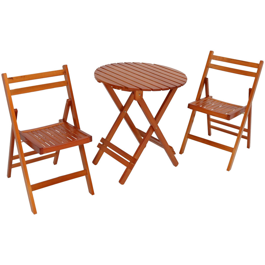 3-Piece Outdoor Folding Wood Patio Bistro Set with Table and Chairs, Brown