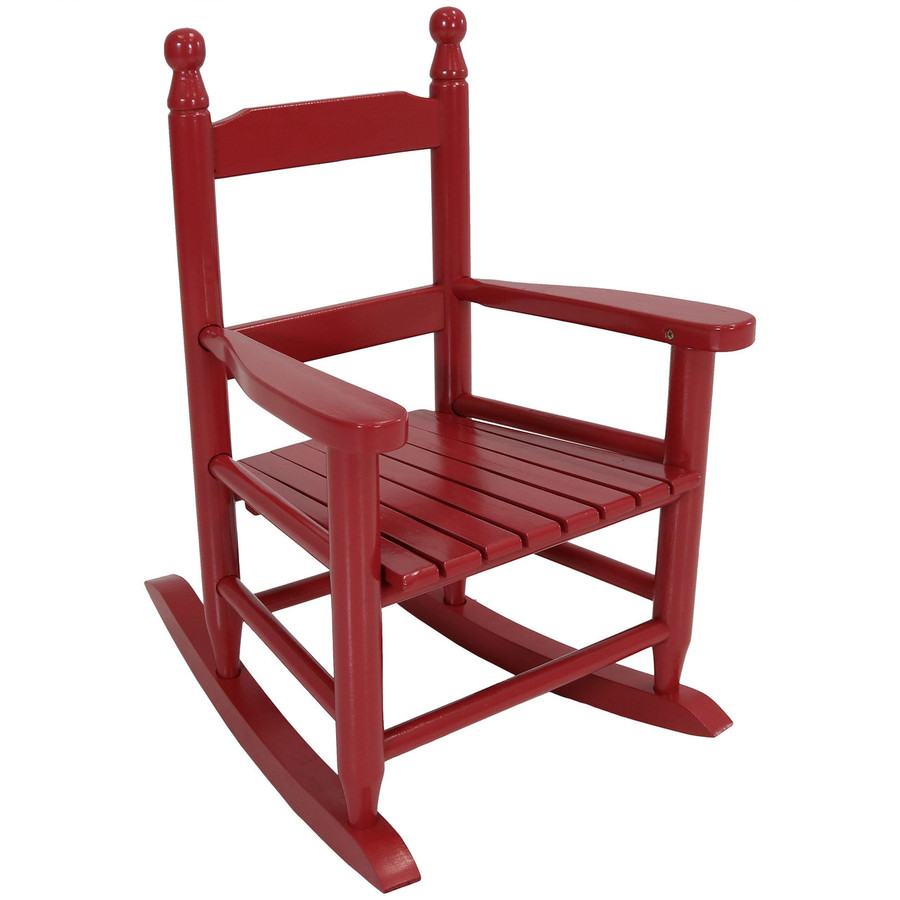 Child-Size Modern Wooden Rocking Chair, Red
