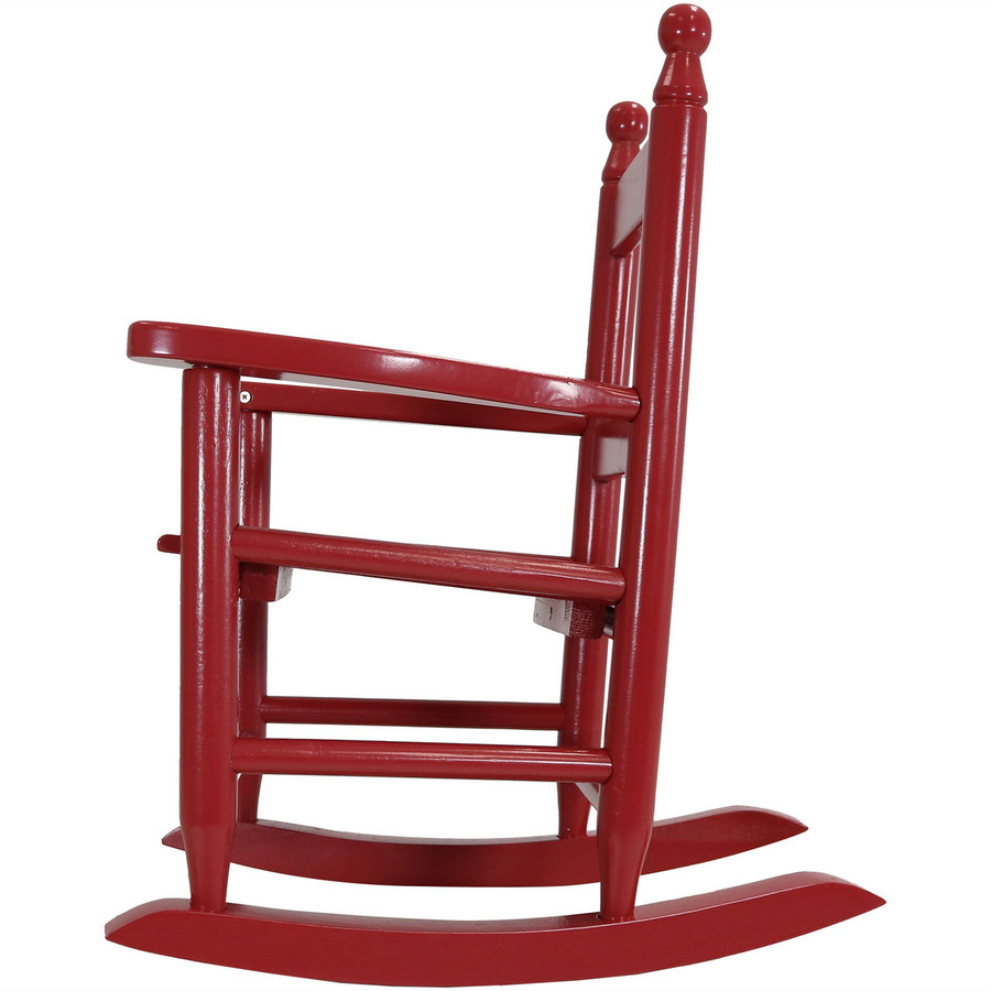 Child-Size Modern Wooden Rocking Chair, Red; Side-View