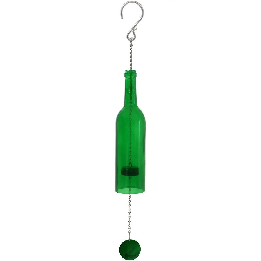 Glass Wine Bottle Wind Chime, Green