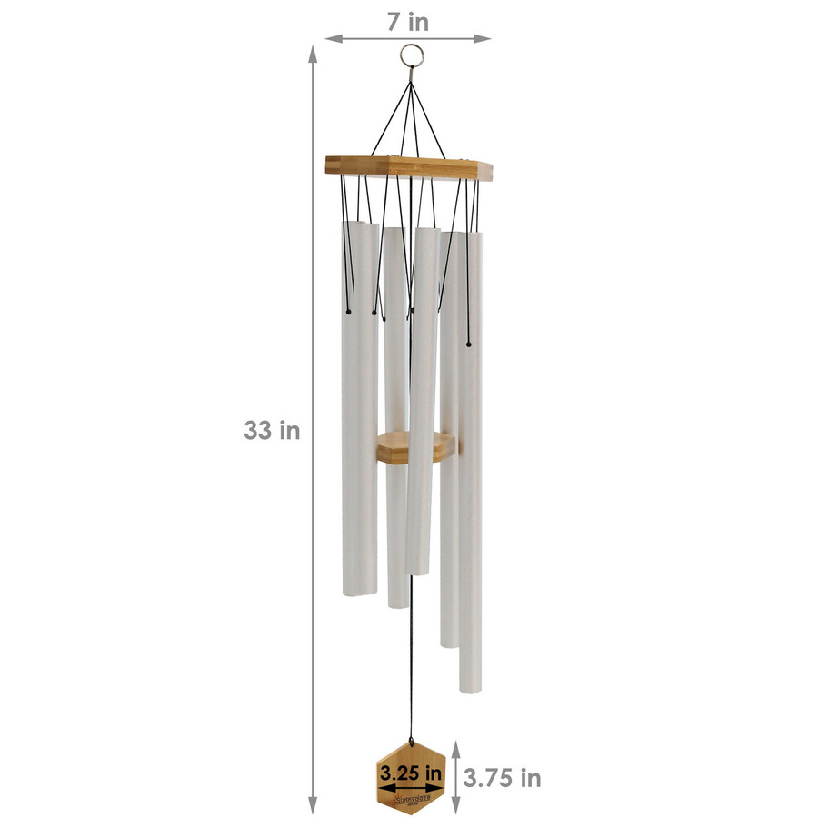 Dimensions of Hexagon Wind Chime, Silver
