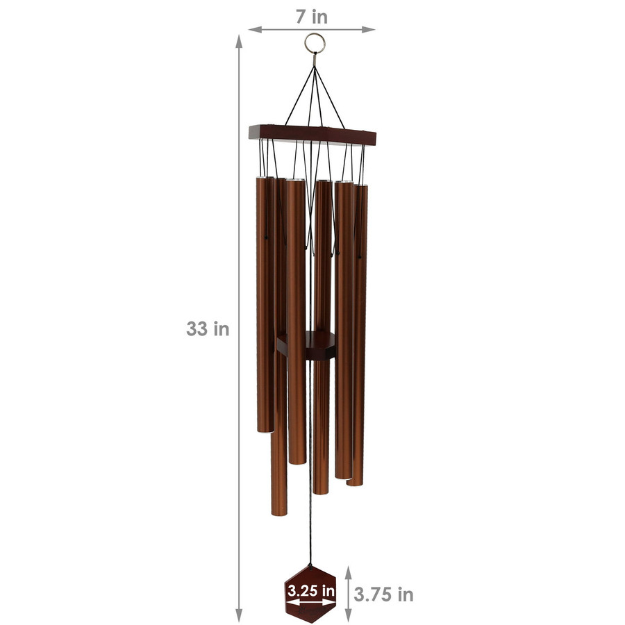 Dimensions of Hexagon Wind Chime, Copper