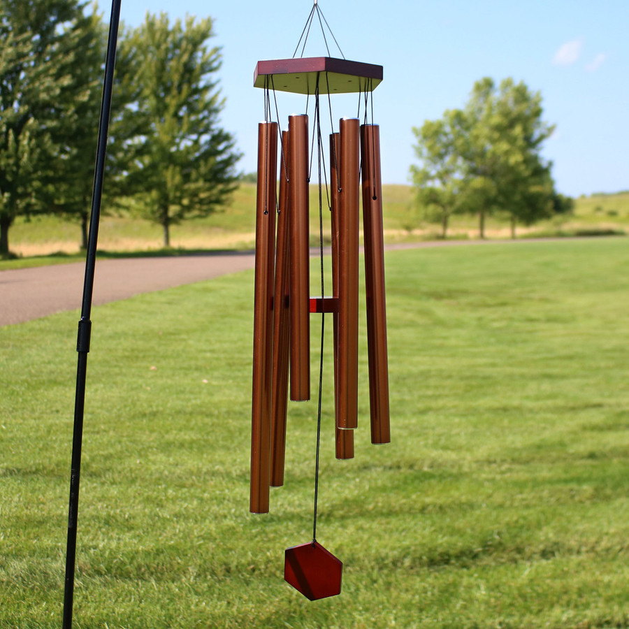 33-Inch Hand-Tuned Hexagon Wind Chime, Copper