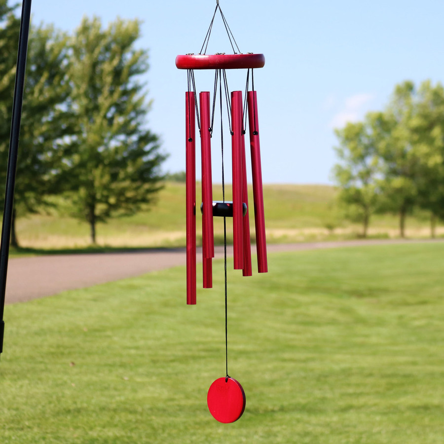 Sunnydaze Hand-Tuned Round Burgundy Wind Chime, 22-Inch Tall