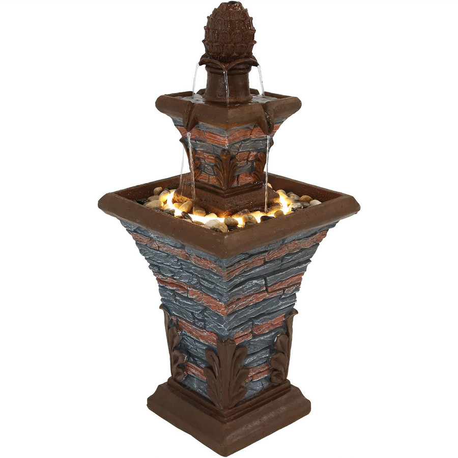 2-Tier Stacked Stone Look Outdoor Water Fountain with LED Rope Light
