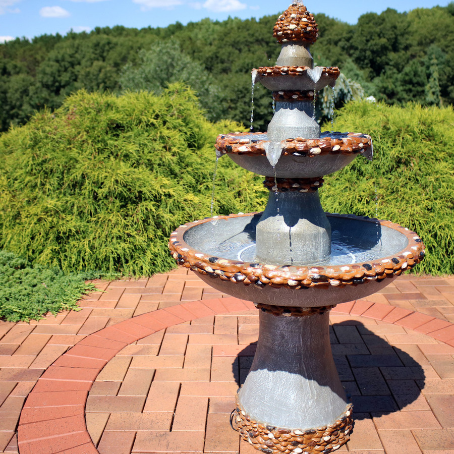 3-Tier Pebbled Edge Outdoor Water Fountain