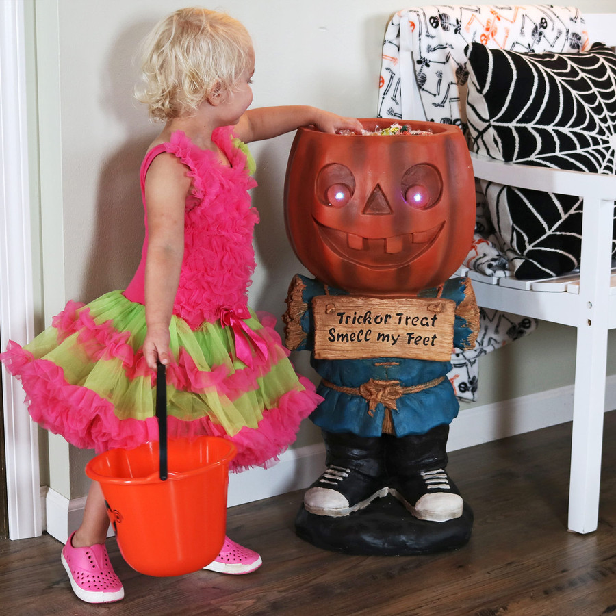 Sunnydaze Jack the Scary Pumpkin Halloween Large Statue with Built-In Candy Bowl Dish with LEDs, 28-Inch Tall