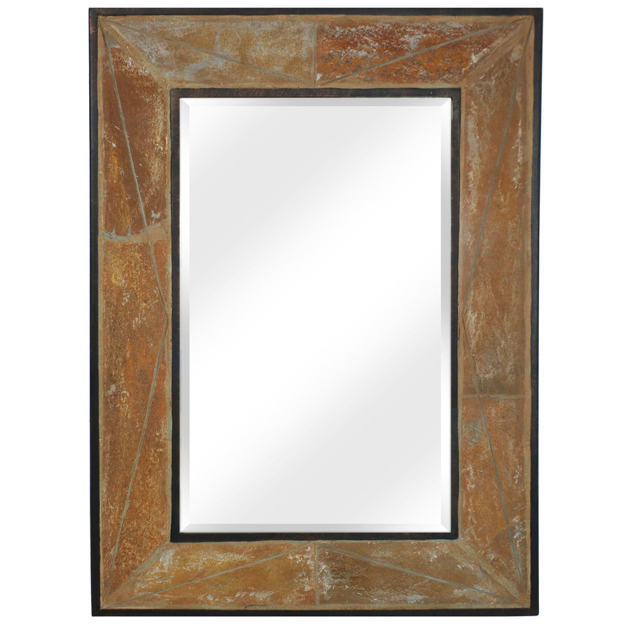 Large Rectangular Wall Mirror with Decorative Slate Frame