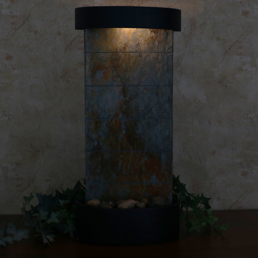 Slate Indoor Wall or Tabletop Water Fountain at Night
