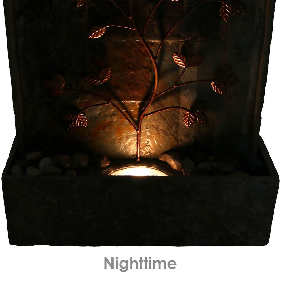 Nighttime Closeup of Bottom of Floor Water Fountain
