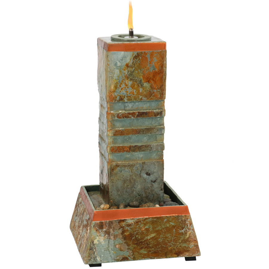 Outdoor Water Fountain Cube Column Tower with Torch Top