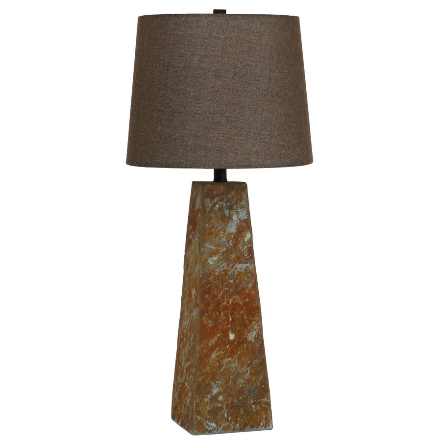 Indoor Table Lamp with Slate Pyramid Base and Fabric Lampshade