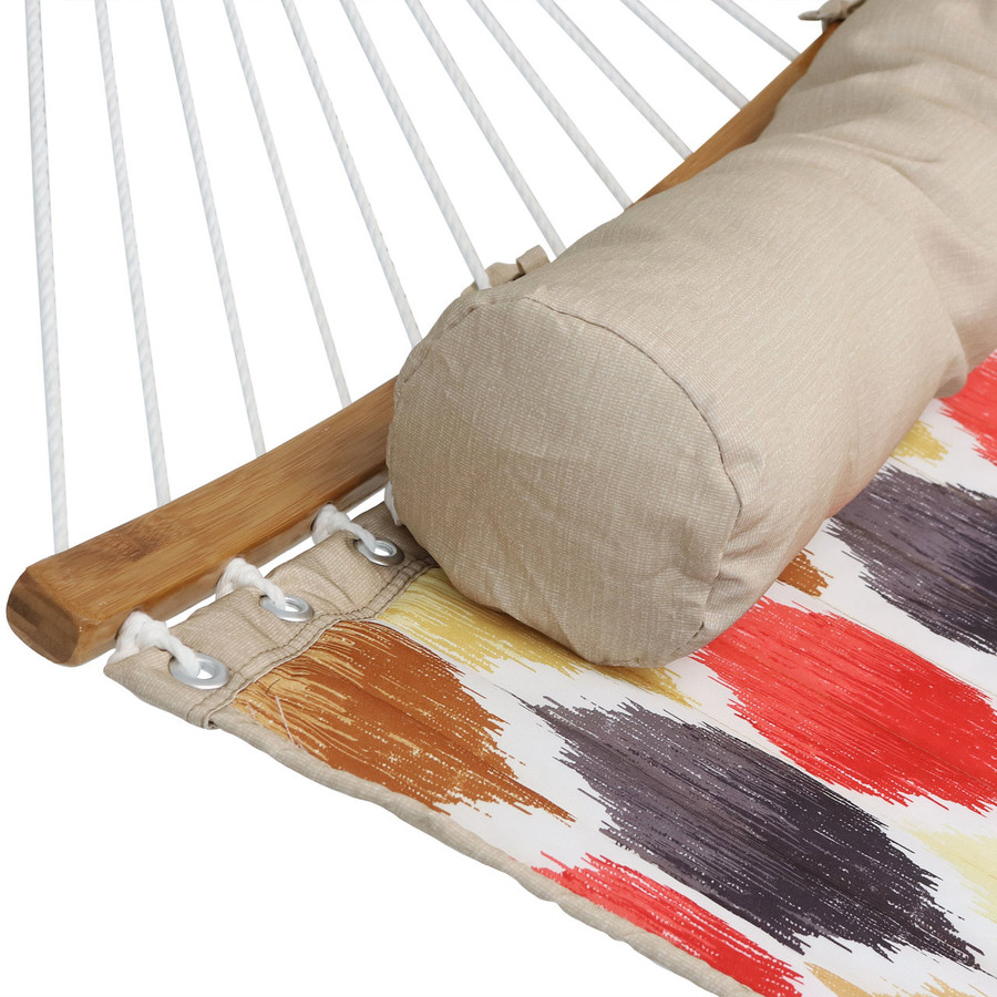 Closeup of Hammock with Bolster Pillow, Red and Gold