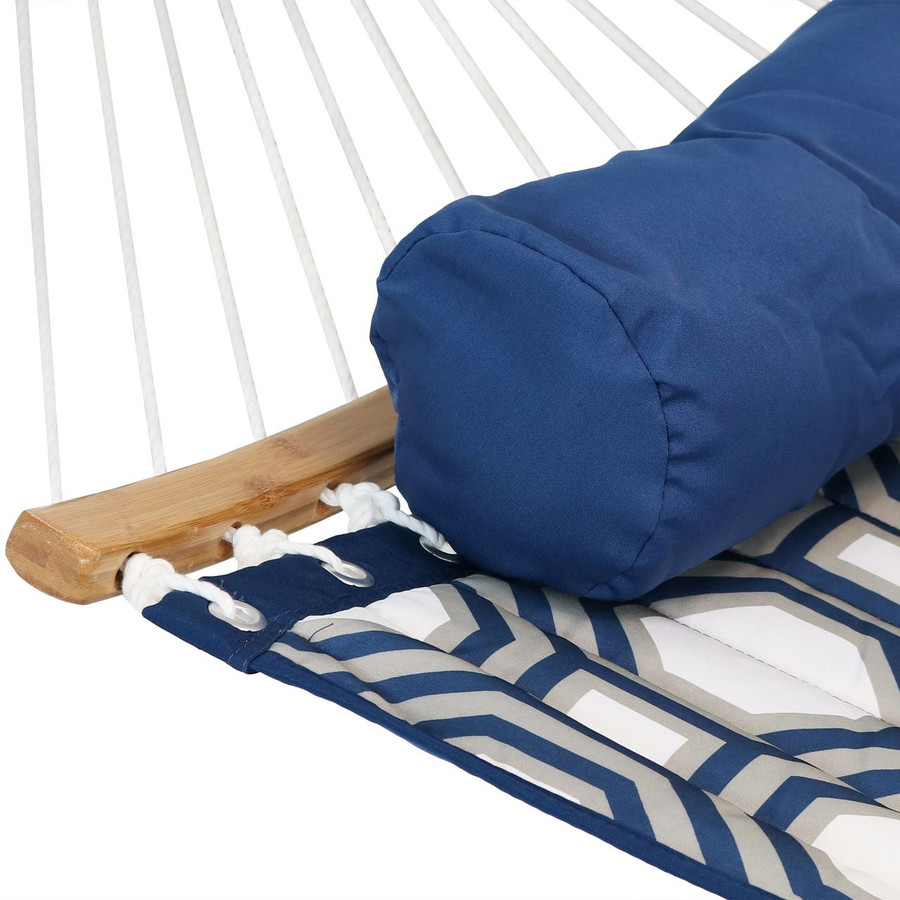 Closeup of Hammock with Bolster Pillow, Navy and Gray