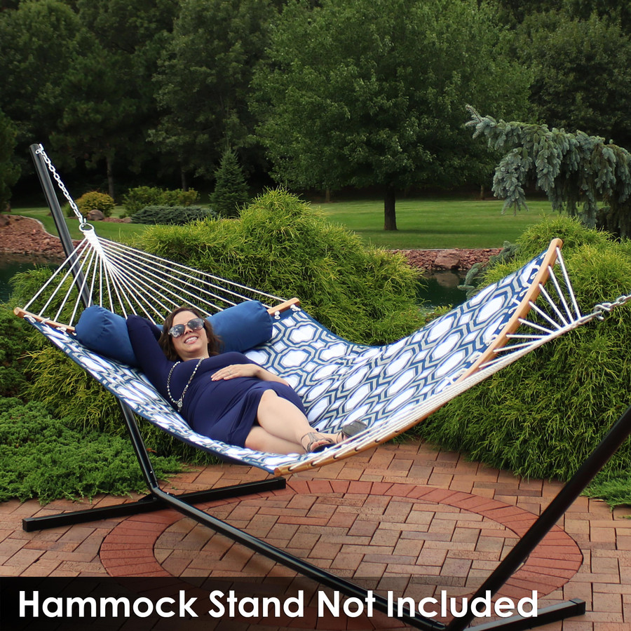 Quilted 2-Person Hammock with Curved Bamboo Spreader Bars, Navy and Gray