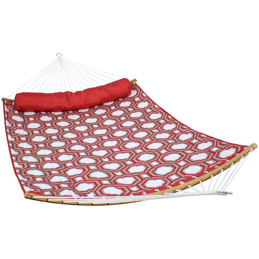 Quilted 2-Person Hammock with Curved Bamboo Spreader Bars, Red and Gray Octagon