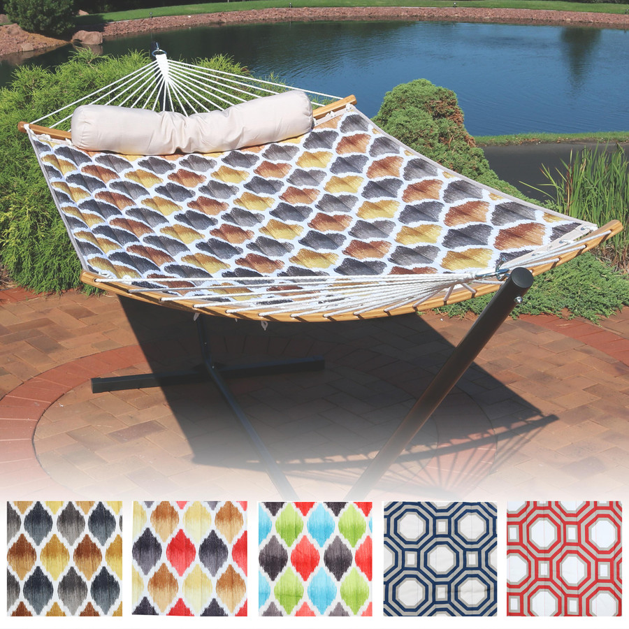 Quilted 2-Person Hammock with Curved Bamboo Spreader Bars, Multiple Color Options