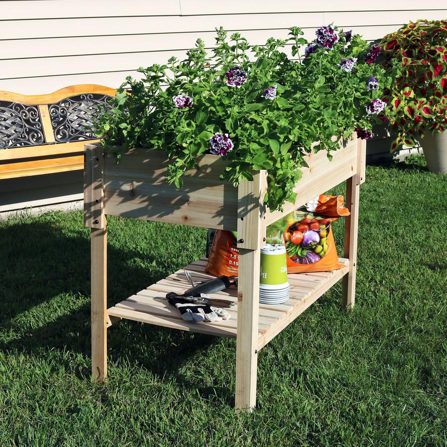 Raised Wood Garden Bed Planter Box with Shelf