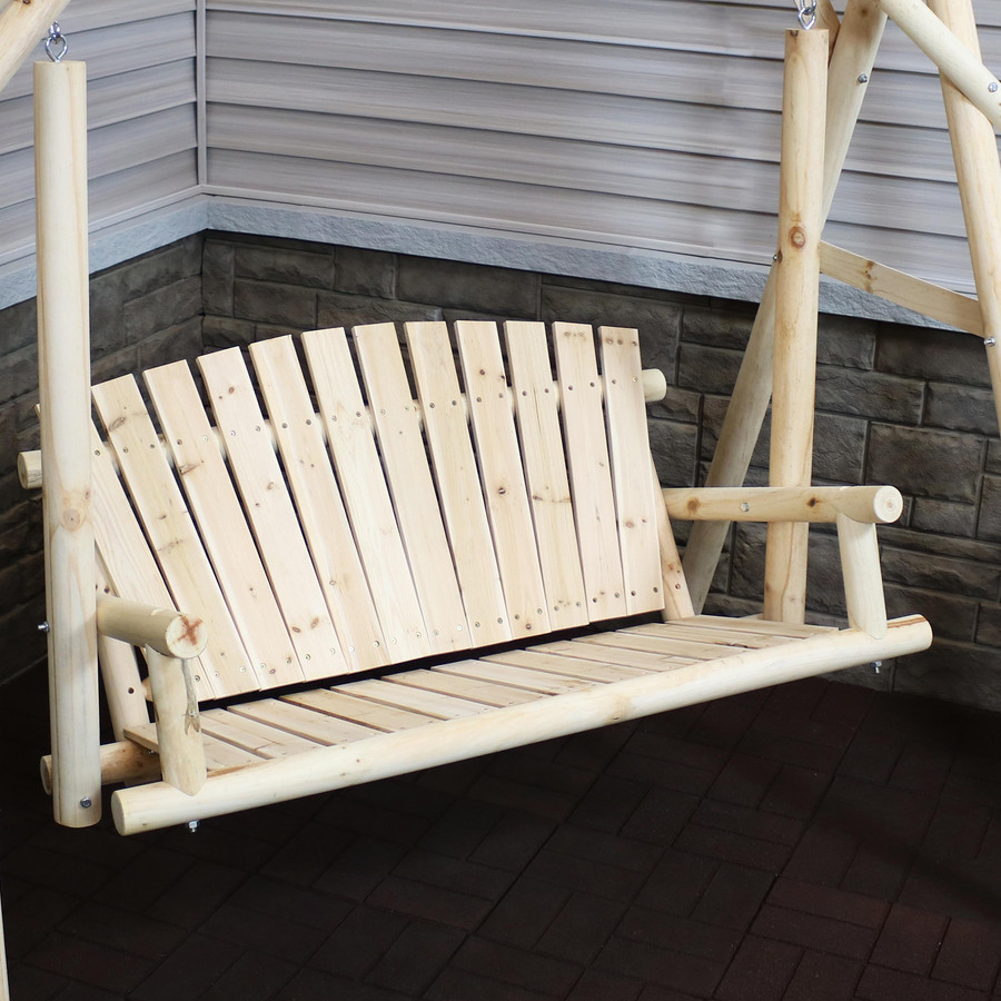 Closeup of 3-Seater Rustic Log Wood Patio Outdoor Swing and Stand