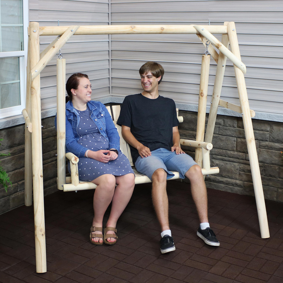 3-Seater Rustic Log Wood Patio Outdoor Swing and Stand