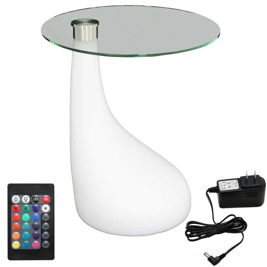 LED Modern Side Table with Remote Control and Charger