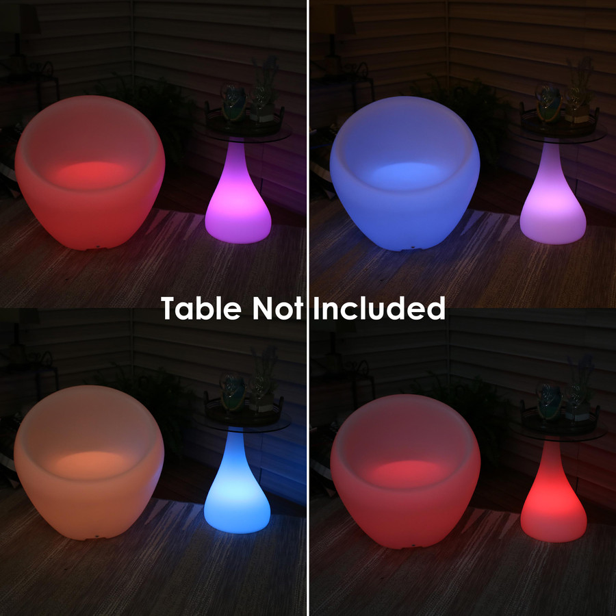 Nighttime View Shown with Indoor/Outdoor LED Modern Side Table (Side Table Sold Separately)