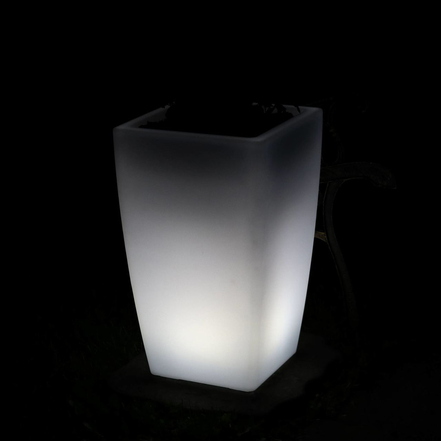 Square Flower Pot at Night, White