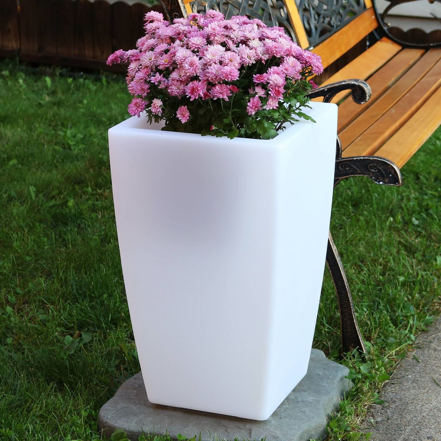 Square Flower Pot with Flowers