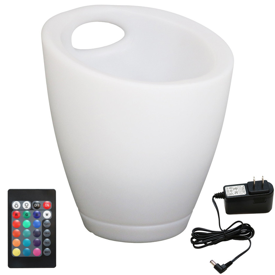 Color-Changing LED Ice Bucket with Handle, Remote and Charger