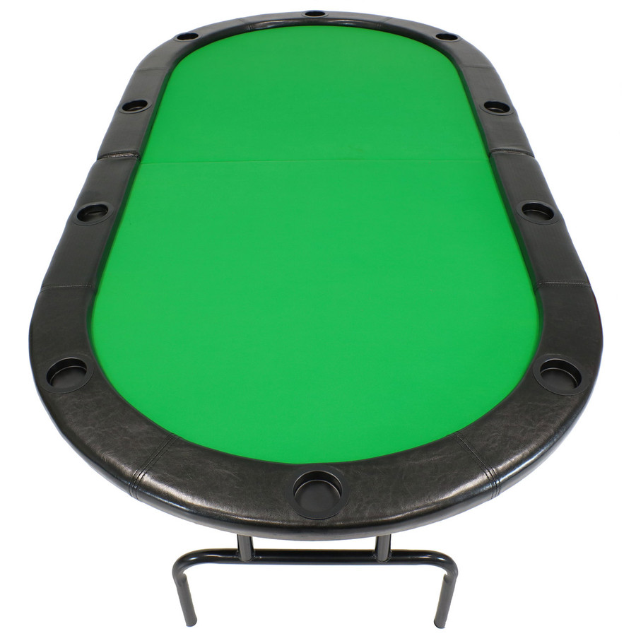 Sunnydaze Folding Oval Poker Table for 8 Players with Cushioned Rail and Built-In Cup Holders, 81 x 42 Inch