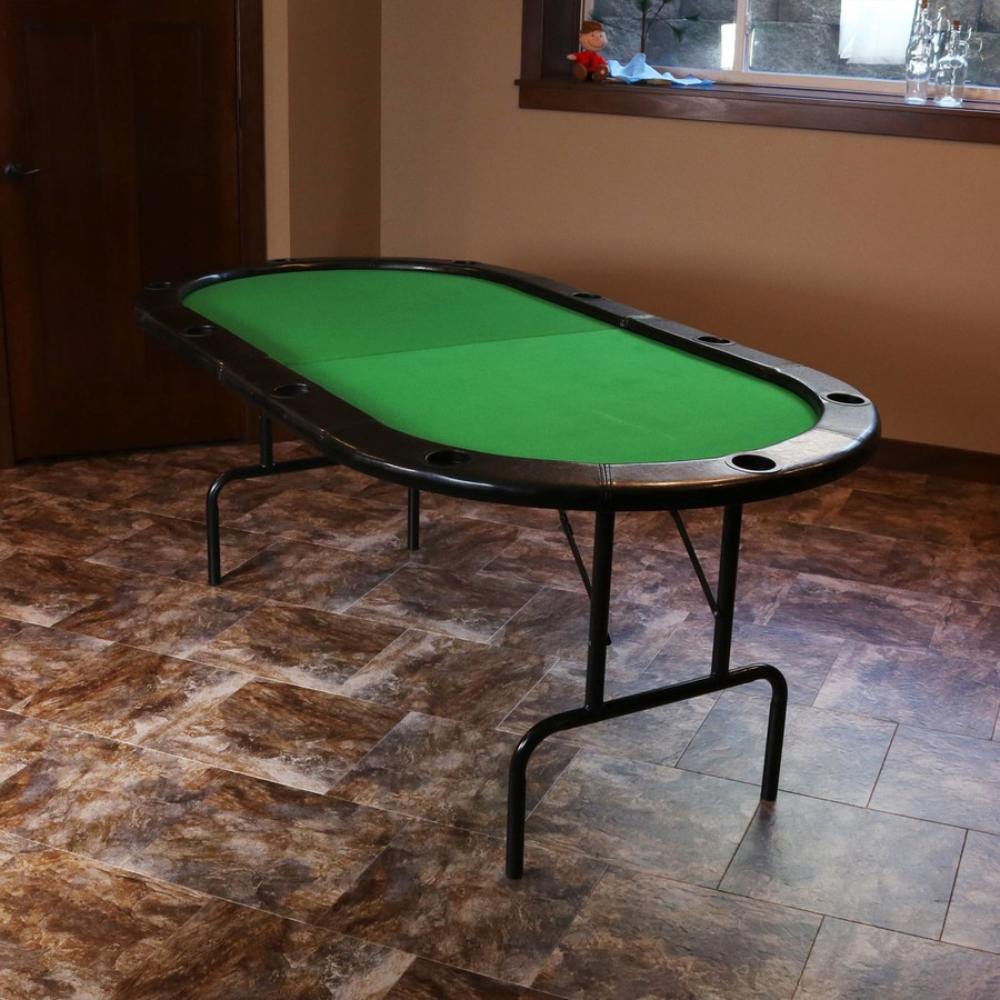 Folding Oval Poker Table for 10 Players